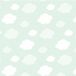 Banderín con nombre y fondo color menta con nubes