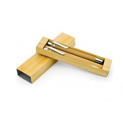 Set de boli + portaminas en caja color bambú