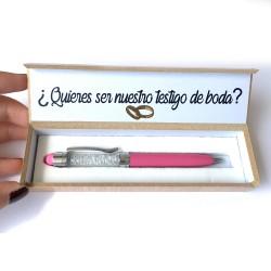 Conjunto de caja + boli metal para testigos de boda