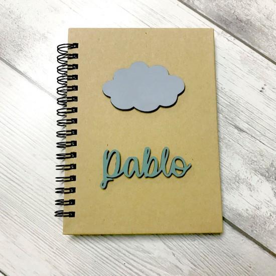 Libreta personalizada Nube de madera