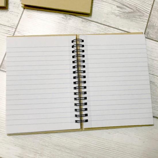 Libreta personalizada con nombre de madera