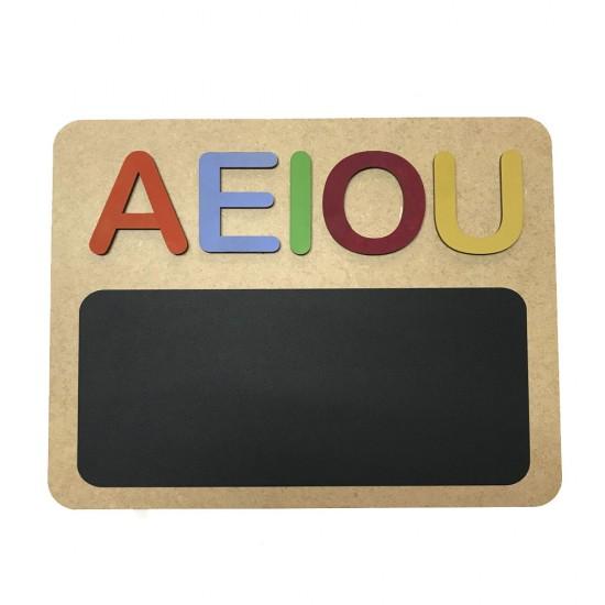 Pizarra educativa de madera A,E,I,O,U