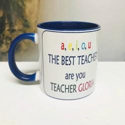 Taza para profes de inglés A,E,I,O,U THE BEST TEACHER ARE YOU