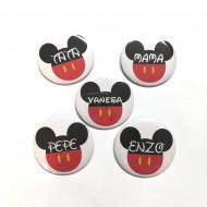 Chapas de 50mm con tu nombre Mickey/Minnie