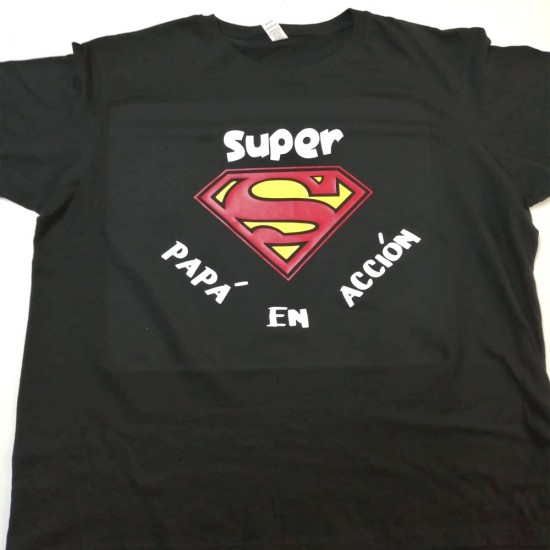 Camiseta con frase Super papá en acción