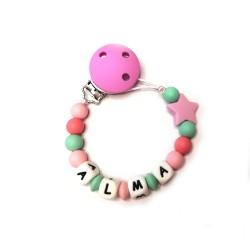 Chupetero de silicona con estrella Tonos rosa y menta