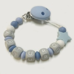 Chupetero silicona Estrella azul-gris
