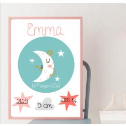Lámina de nacimiento Modelo Luna Boho DIGITAL