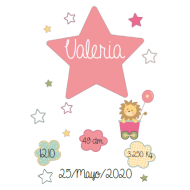 Lámina de nacimiento Modelo Estrella Rosa