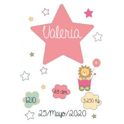 Lámina de nacimiento Modelo estrella rosa DIGITAL