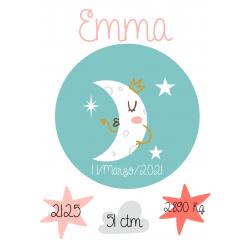 Lámina de nacimiento Modelo Luna Boho