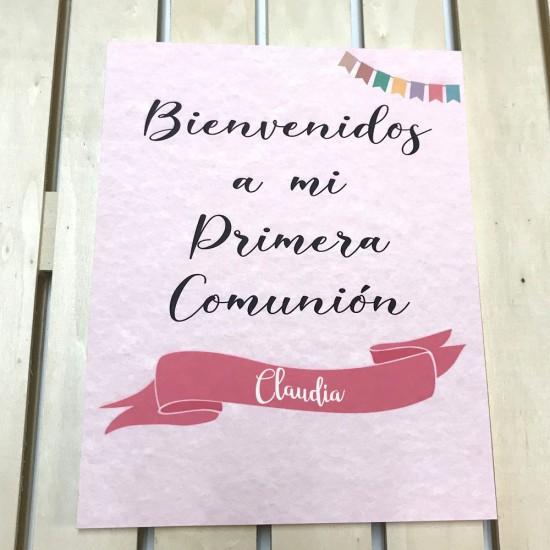 Cartel de Bienvenidos a Mi Primera Comunión