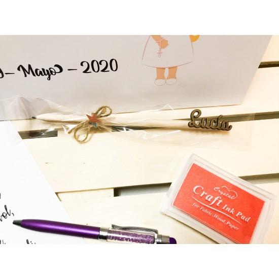 Set de comunión Lienzo + lápiz personalizado