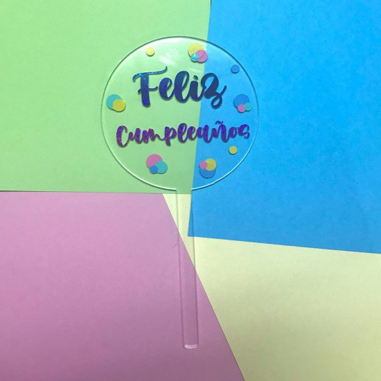 Cake topper Feliz Cumpleaños transparente
