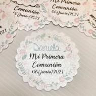 Etiqueta Comunión Floral en papel brillo