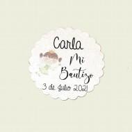 Etiqueta Bautizo Hada en papel brillo