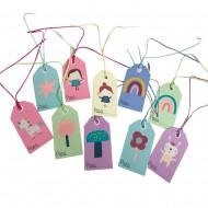 Pack de 10 Etiquetas para regalo con cuerda de papel