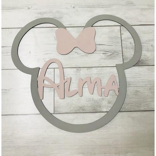 Silueta de la cabeza de Mickey/Minnie con tu nombre Rosa/Gris
