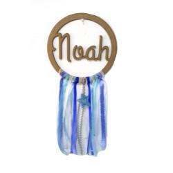 Atrapasueños de madera con tu nombre Azul y Blanco
