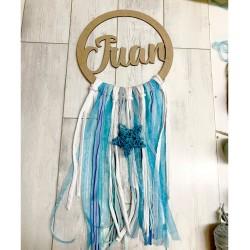 Atrapasueños personalizado en tonos azul y blanco