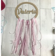 Atrapasueños personalizado en tonos rosa y blanco