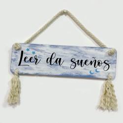 Cartel decorativo en madera LEER DA SUEÑOS