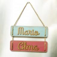 Cartel personalizado doble con nombres en madera