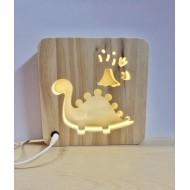 Lámpara LED de madera Dinosaurio