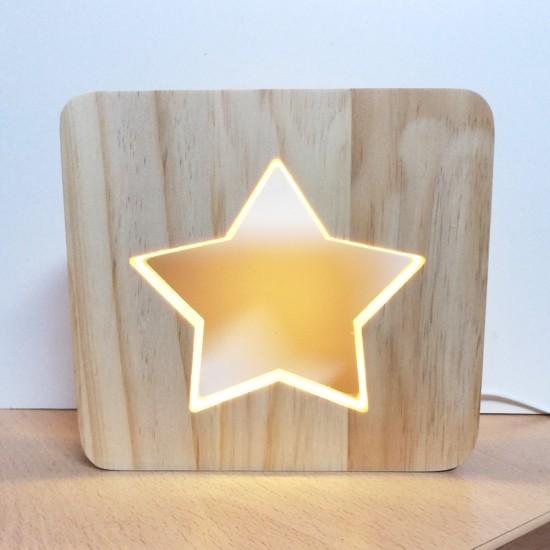 Lámpara LED de madera Estrella