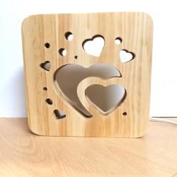 Lámpara LED de madera corazones