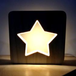 Lámpara LED de madera