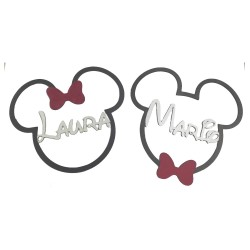 Cabeza de Mickey/Minnie en color con tu nombre