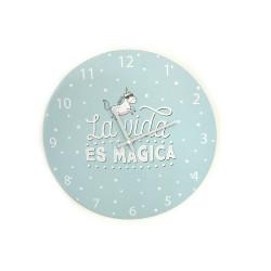 Reloj de pared azul claro La vida es mágica