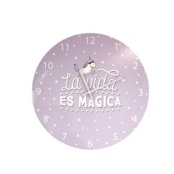 Reloj de pared lila La vida es mágica