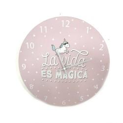 Reloj de pared rosa La vida es mágica