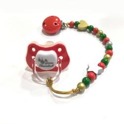 Conjunto Chupete + chupetero navideño