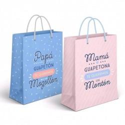 Bolsa de cartón con mensaje para papá y mamá