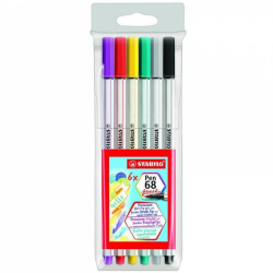 Estuche de 6 Stabilo Pen68 Brush