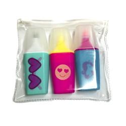 Pack de 3 mini marcadores en estuche